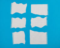 Torn pieces of checkered paper. On blue background Royalty Free Stock Photo