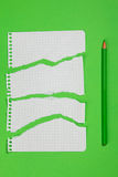 Torn pieces of checkered paper. On green background Royalty Free Stock Image