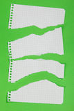 Torn pieces of checkered paper. On green background Stock Photos
