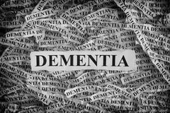 Torn pieces of paper with the word Dementia Royalty Free Stock Photos