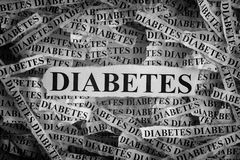 Torn pieces of paper with the word DIABETES Stock Image