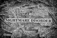 Torn pieces of paper with the words Nightmare Disorder Royalty Free Stock Photos
