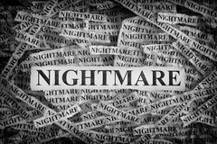 Torn pieces of paper with the words Nightmare. Nightmare. Torn pieces of paper with the words Nightmare. Concept Image. Black and White. Closeup stock photos