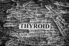 Torn pieces of paper with the words Thyroid. Thyroid. Torn pieces of paper with the words Thyroid. Concept Image. Black and White. Closeup Royalty Free Stock Images