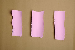 Torn Pink Paper Scraps Stock Image