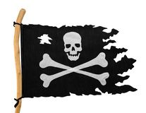 Tatered Pirate Flag. Torn Pirate Flag Isolated on White Background royalty free stock images