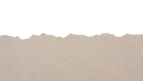 Torn recycled paper. On white background stock photos