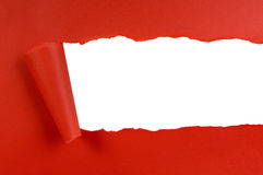 Torn red background paper, white copy space Stock Photography
