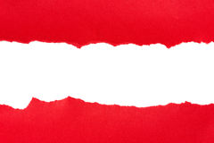 Torn red paper. With space for text on white background royalty free stock photography