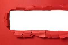 Torn red paper strip with white background copy space Royalty Free Stock Images