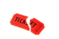 Torn Red Ticket. Singe torn red ticket for admission to an entertainment event Royalty Free Stock Image