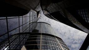 Torn reflekterar solmolnTimelapse den vertikala sikten av den höga löneförhöjningskyskrapan lager videofilmer