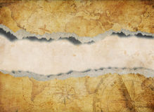 Torn or ripped old map background stock illustration