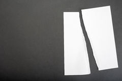 Torn. Ripped piece of paper for your concepts about things torn, divided, separated, broken up or split - copy space to the left royalty free stock photos