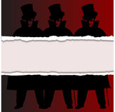 Torn Ripper. A Jack the Ripper background with shadows and ripp and silhouette over a red background Stock Photography