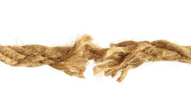 Torn rope. Over white background stock image