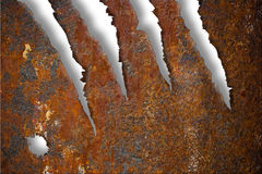 Torn rusty metal texture over white Stock Photo