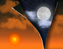Torn Sky. Torn sunset skt reveals night sky Royalty Free Stock Image