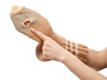 Torn sock Stock Image