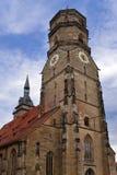 Torn Stiftskirche för kyrklig klocka i Stuttgart i Tyskland Arkivbild