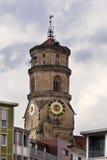Torn Stiftskirche för kyrklig klocka i Stuttgart i Tyskland Royaltyfria Foton