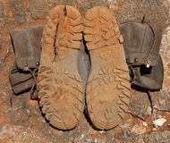 Torn trekking boots Royalty Free Stock Photo