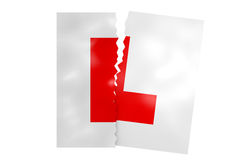 Torn up L plates. A 3D illustration of driving L plates having been ripped in two Royalty Free Stock Photos