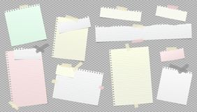 Free Torn White And Colorful Note, Notebook Paper Strips Stuck With Sticky Tape On Dark Grey Background. Vector Illustration Stock Photo - 159187930
