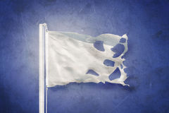 Torn White flag flying against grunge background Stock Images