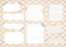 Torn white notebook, copy book, note paper stuck on pattern created of heart shapes.  Royalty Free Stock Photography