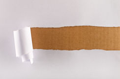 Torn wrapping paper over brown cardboard. Torn curly wrapping paper revealing a strip of brown cardboard layer stock images