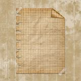 Torn yellow paper fastened with masking tape. Old parchment stock illustration