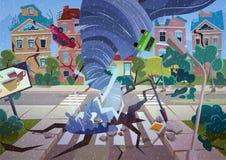 Tornade de tourbillonnement dans le village Maisons et rue de destruction d'ouragan Vecteur de bande dessinée de concept de catas illustration de vecteur