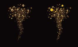Tornade des bitcoins de vol et des cadeaux d'or, fond noir Vecteur Images libres de droits