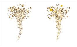 Tornade des bitcoins et des cadeaux d'or de vol Vecteur Photo libre de droits