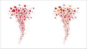 Tornade des coeurs rouges de vol et des cadeaux d'or sur un fond blanc Vecteur Photo stock