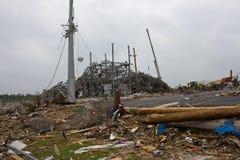 Tornade endommagée par gare secondaire électrique Joplin MOIS Images libres de droits