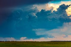 Tornadic supercell storm in the fields, Lithuania, Europe. Image of tornadic supercell in Lithuania, Europe stock photography