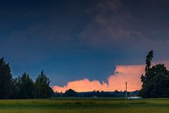 Tornadic supercell storm in the fields, Lithuania, Europe. Image of tornadic supercell in Lithuania, Europe royalty free stock photos