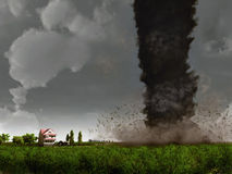 Tornado. Approaching to country house (3D rendering Royalty Free Stock Photo