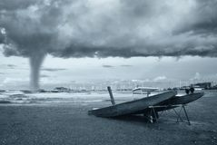 Tornado. Twister incoming from the sea Stock Photo