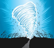 Tornado. Drawing of a tornado tearing up the countryside Royalty Free Stock Image