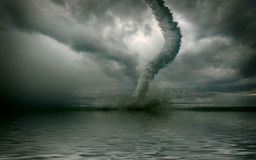 Tornado. Large tornado over the water (3D rendring Stock Image