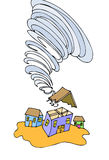 Tornado. Cartoon image showing a tornado tearing roof off of a house Royalty Free Stock Images