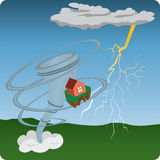 Tornado. Lightning and house, illustration Royalty Free Stock Photography