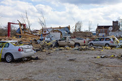 Tornado aftermath in Henryville, Indiana. Henryville, IN – March 4, 2012: Aftermath of category 4 tornado that touched down in town on March 2, 2012 in Royalty Free Stock Photos
