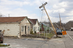 Tornado aftermath in Henryville, Indiana. Henryville, IN – March 4, 2012: Aftermath of category 4 tornado that touched down in town on March 2, 2012 in Royalty Free Stock Images
