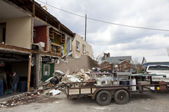 Tornado aftermath in Henryville, Indiana. Henryville, IN – March 4, 2012: Aftermath of category 4 tornado that touched down in town on March 2, 2012 in Royalty Free Stock Photo