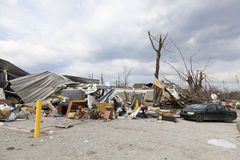 Tornado aftermath in Henryville, Indiana. Henryville, IN – March 4, 2012: Aftermath of category 4 tornado that touched down in town on March 2, 2012 in Stock Photos