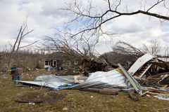 Tornado aftermath in Henryville, Indiana. Henryville, IN – March 4, 2012: Aftermath of category 4 tornado that touched down in town on March 2, 2012 in Stock Image